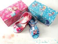 Wholesale Girls Shoes Girls Sandals Plastic Shoes Toddler Girls Princess Cinderella Belle Girl Summer Toe Sandals Shoes Kids Ankle wrap Shoes