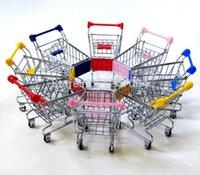 Wholesale 20pcs Cute shopping Cart Mobile Phone Holder Pen Holder Mini Supermarket Handcart Shopping Utility Cart Phone Holder