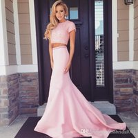 printed ribbon - Two Pieces Beading Prom Dresses Pearl Pink Formal Evening Party Gowns Sheath Mermaid Body Crew Neck Cap Sleeves Satin Fabric