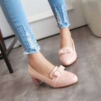 Wholesale 2016 new arrival owtie shoes womens shoes low heels shoes pink shoes loafer shoes chunky heels shoes PU shoes A2497