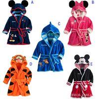 Wholesale Kids Cartoon bathrobe Hoodies Baby Girls Boys warmer fleece Mickey Minnie Bandage Pajamas Sleepwear girls clothes boys clothing
