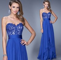 annual flower pictures - New arrival hot sale fashion spike sweety Blue lace bridesmaid dinner show host annual meeting banquet evening dress
