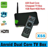 Cheap Allwinner A20 Android TV Box X55 Cheap dual core tv box with HDMI+RJ45+Android 4.2+IR remote Digital TV Box Receiver Free DHL