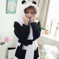 bath robe sale - Hot Sale Winter Lady Pajamas Bath Robe Sleepwear Women Coral Velvet Bathrobes Women Cartoon Panda Homewear Asia Size M L JB0099