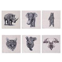 Wholesale Elephant Rhinoceros Animals Bed Sofa Car Home Decorative Decor Cotton and Linen Pillowcase Back Cushion Cover Throw Pillow Case order lt no