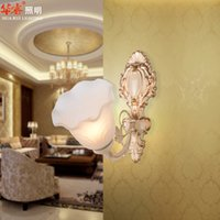 Wholesale New arrivel Simple European Style E27 base Wall Lamp cozy wrought iron antique wall sconce bedside single head double head glass lampshade