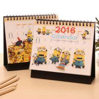 Wholesale New Cute Kawaii Minions Paper Table Desk Calendar Despicable Me Calendars Office School Supplies Free shippping