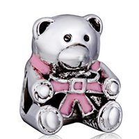 bear charms silver - Hot Sale New Arrival Pink Bear Charm Silver European Charms Bead Fit DIY Snake Chain Bracelet Fashion Jewelry