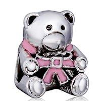 bear charm bracelet - Hot Sale New Arrival Pink Bear Charm Silver European Charms Bead Fit DIY Snake Chain Bracelet Fashion Jewelry