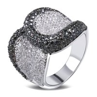 Cheap Latest Design Black White Women Cubic Zircon Setting Deluxe Ring Elegant CZ Setting Hand Made Allergy Free Low Cadmium size:9