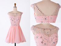 Wholesale Real Photo Beaded Top Pink Mini Short Homecoming Dresses Sexy Open Back Crew Chiffon Formal Short Prom Party Dress Graduation Gown