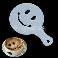Wholesale 16 Set Fashion for Creative Cappuccino Coffee Barista Stencils Template Strew Pad Duster Spray Tools
