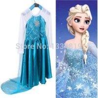Cheap Kids Girls Frozen Elsa Costume Cosplay Children's Princess Fancy Dresses 3-8Y