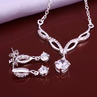 Wholesale High grade sterling silver Zircon lip piece White jewelry sets DFMSS633 brand new Factory direct sale wedding necklace earring