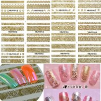 beauty tips summer - 1sets designs Gold Lace Stickers d Nail Art Flower Tips Nail Decals Summer Beauty Women Wraps Foils Accessory HBJY001