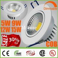 Loca 30% OFF-CREE 9W COB 5W 12W 15W regulable / LED Focos de concha blanca soporte no empotrada en el techo abajo se enciende Lámparas + Garantía 5 años + CSA