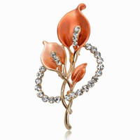 Wholesale Fashion Orange Enamel Dress Brooches For Women Wedding Rhinestone Flower Breastpin Pin Crystal Brooch Bouquet Jewelry