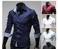 Wholesale men clothing fashion solid colors men shirts casual long sleeved shirts M to XXXL