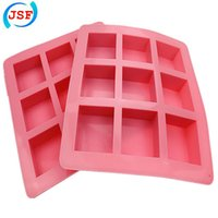 silicone molds - Big Size Square Pink Silicone Handmade Soap Mold Cookie Mold Cake Mold Muffin Molds JSF Silicone