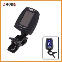 Wholesale Aroma AT B Portable Clip on Electric Tuner Universal for Guitar Chromatic Bass Guitar Parts Accessories Via DHL