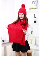Wholesale Red soft Winter Women Warmer Thicken Scarf Wrap Hat Set Knitted Knitting Girls Collars Skullcaps red scarf set scarf cap