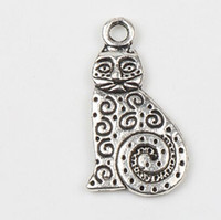 animal fats - MIC x22 mm Antique Silver Dots Swirl Fat Cat Charm Pendant Charms Pendants Jewelry DIY Fit Bracelets Necklace Earrings L1158