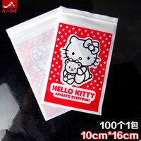 Wholesale 100pcs hello kitty packaging bags Zip Lock Plastic Bags x16cm