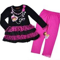 Wholesale Hot Sale New DORA Girl Sets Polka Dot Black Tiered Long Sleeve Dress Rose Legging Piece Sets