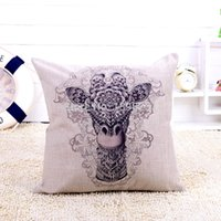 Cheap High Quality Linen Sofa Cushion Cover Love Sika Deer Throw Pillow Case For Car Home Decor Bedding Accessories Wedding Gift 45*45