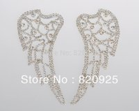 wing mirror - X Mirror Pair Clear Crystal Rhinestone Applique Motif Wing for Dress Costume