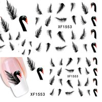 Wholesale 1 Sheet Fashion Style Nail Art Swan Design Water Transfer Stickers Decal DIY Nail Art Decorations Manicure Styling Tools XF1553