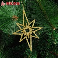 anise tree - Christmas tree decoration pendant x9cm golden stick powder hollow out anise star hang g supplies snowflake crafts hanging party supplie