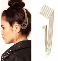Wholesale Girl Gothic Punk Nickel Free Long Tassel Chain Hair Pin Comb Rivet Ear Cartilage Cuff Gold Clip Earrings No Piercing A00283
