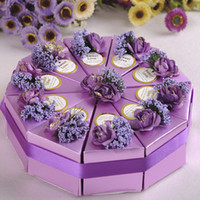 paper cake box - 2015 New Romantic Multicolor Candy Boxes Cake Shape Multicolor Flower Decoration Bowknot Ribbon Wedding Favors Party Gift Boxes Holders