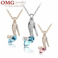 beautiful slippers - 8 Color Fashion Austrian crystal Slipper Inlaid diamond plate Silver pendant necklace beautiful temperament style SKU A109