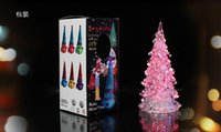 acrylic lamp box - Creative Christmas gifts for children Acrylic Crystal Colorful Mini Changing LED night light lamp christmas tree Decorations with retail box