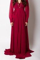 best abayas - 2015 Best Sale Simple Design V Neck Pleats Long Sleeve Chiffon Floor length Formal Evening Prom Dresses Dubai Dubai Abaya Arabic Dresses