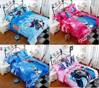 bed - 3D cartoon kid child bedding sets Frozen Queen Elsa Anna Cotton Comforter Sheet Set Bed Full Queen King size MYF21
