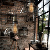 Wholesale Vintage American country style Industrial clear and amber Glass cover Lampshade pendant hanging light Chandelier Celing Lamp Edison E27 Bulb