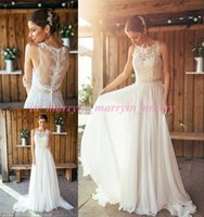 amanda wedding dress - 2016 Spring Amanda Wyatt Boho Wedding Dresses A Line Crew Plus Size Long Chiffon Bohemain Greek Wedding Gowns Summer Beach Bridal Dresses