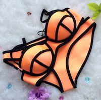 Nuovi brillantemente Scafandro Materiale-neoprene costume da bagno Plus Size sfera di stile spinge verso l'alto lo Swimwear neoprene Bikini 7 colori