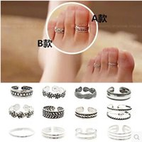 Wholesale 2016 Party New Arrival Cluster Rings Time limited Options Celebrity Fashion Antic Silver Toe Ring Retro Carved Flower Foot Women Jewelry