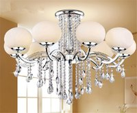 Wholesale New LED Shades Glass Shade Crystal Ceiling Light Lamp Lighting modern fashion Chandelier Circular lamps dining room bedroom Ceiling Light