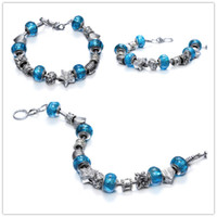 strands of glass beads - 2015 DHgate kind of hot selling European style transparent water blue murano glass beads and delicate Lampwork DIY Coloured glaze bracelet