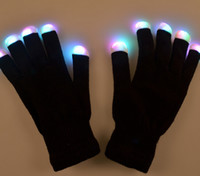 Wholesale Knitted Pattern LED Light Flash Luminous glow Fingertip Glove For Party Decoration Cosplay Black Color DHL freeshipping