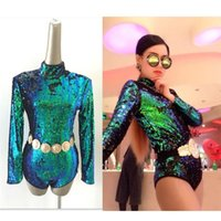 Wholesale Newest Singer Stage Wear Sexy Bodysuit Long Sleeve Sequins Jazz Dancing Clothing Ballroom Clothes Dance Performance Costumes DH