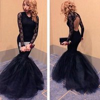 Cheap Lace-up 2016 Black Mermaid Prom Dresses Best Real Photos T-shirt 2016 Long Sleeves Evening Gowns
