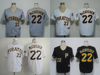 Wholesale 2015 Pittsburgh Pirates Andrew McCutchen Sports Jerseys Shirts Throwback Embroidery Logo Mix Order Black Grey