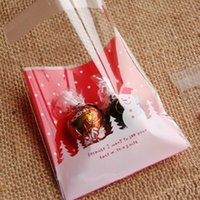 Wholesale Christmas Gifts Packaging Wholesale - 100PCs LOT plastic Christmas bags gift bag packaging new year christmas decoration gift bags (include bag only)