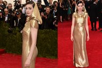 apple black hat - 2015 Design Fashion Gold Met Gala Celebrity Dresses With Hat Short Sleeve Sheath Anne Hathaway Pageant Dress Sexy Party Prom Dress Gowns